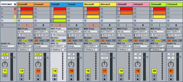 Comprehensive drum kit setup